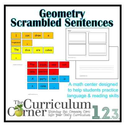 Geometry Scrambled Sentences for 1st and 2nd grades FREE from The Curriculum Corner