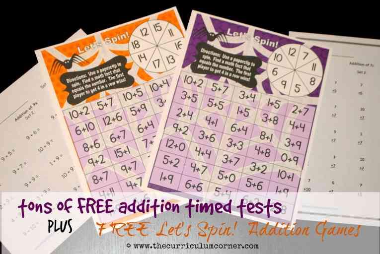 Tons of FREE addition timed tests + FREE Let's Spin math facts games from The Curriculum Corner