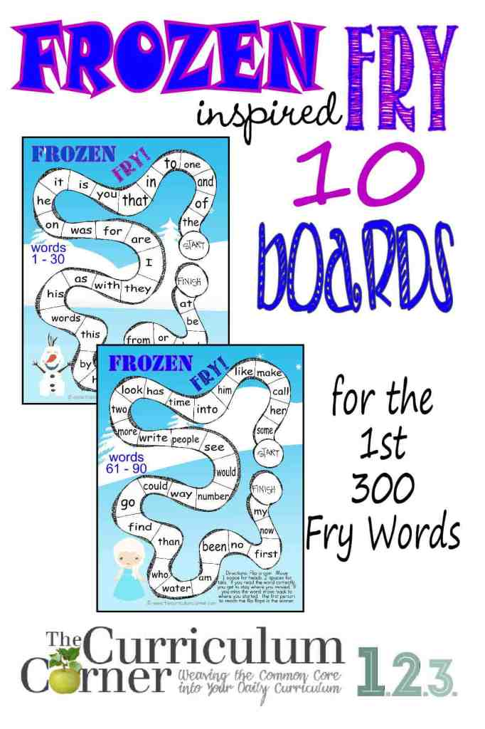 Frozen Inspired Fry Word Games for the first 300 Words   Sight Word Practice   FREE from The Curriculum Corner