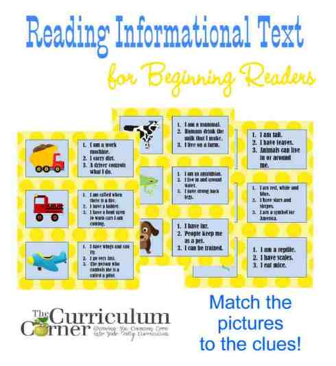 Reading Informational Text for Beginning Readers Activity for the Classroom FREE from The Curriculum Corner