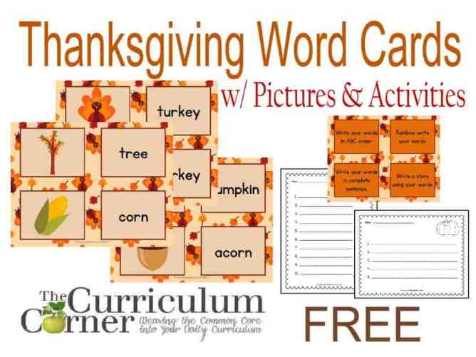 Thanksgiving Word Cards with matching pictures and activity cards plus, recording pages FREE from The Curriculum Corner