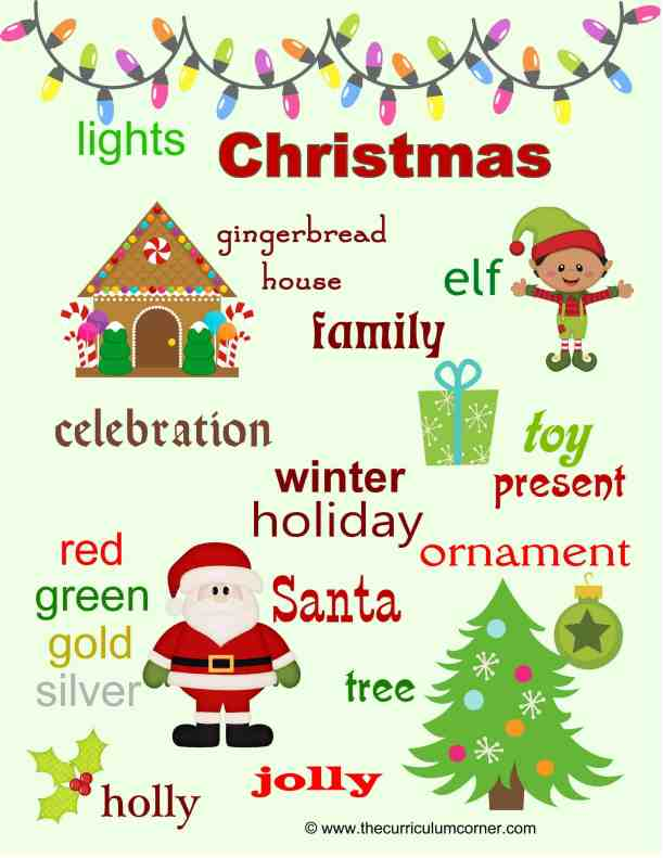 Christmas Word Wall FREE from The Curriculum Corner | writing workshop
