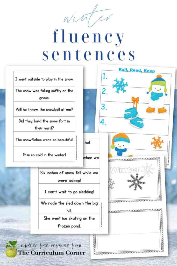 Download this set of free winter fluency sentences to help your students practice fluency during literacy center rotations.