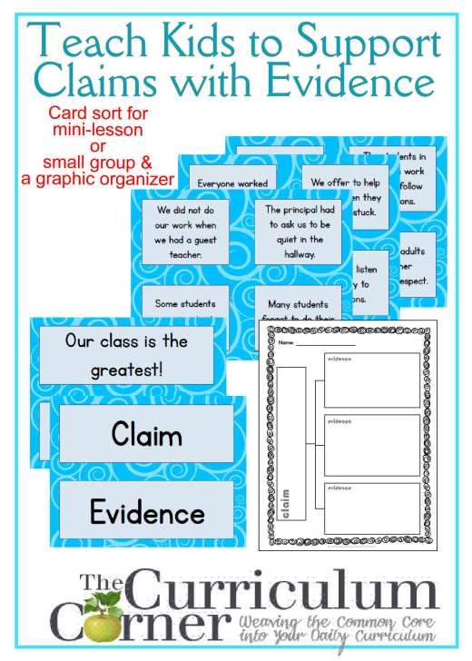 Using Evidence - Teaching Students to Support Claims with Evidence Mini-Lesson and Graphic Organizer FREE from The Curriculum Corner