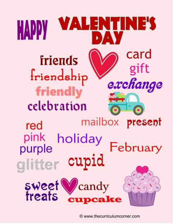 Valentine's Day Themed Word Wall for the Classroom | Great free writing workshop tool for your students from The Curriculum Corner