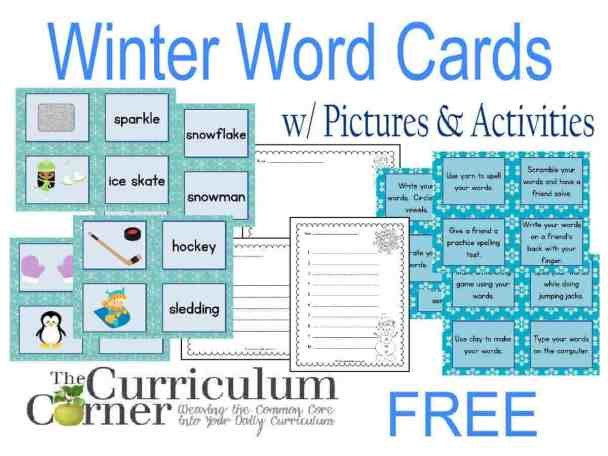 Winter Word Cards w/ Pictures and Activities Includes Recording Pages FREE from The Curriculum Corner | Word Work | Daily 5 | Literacy Centers