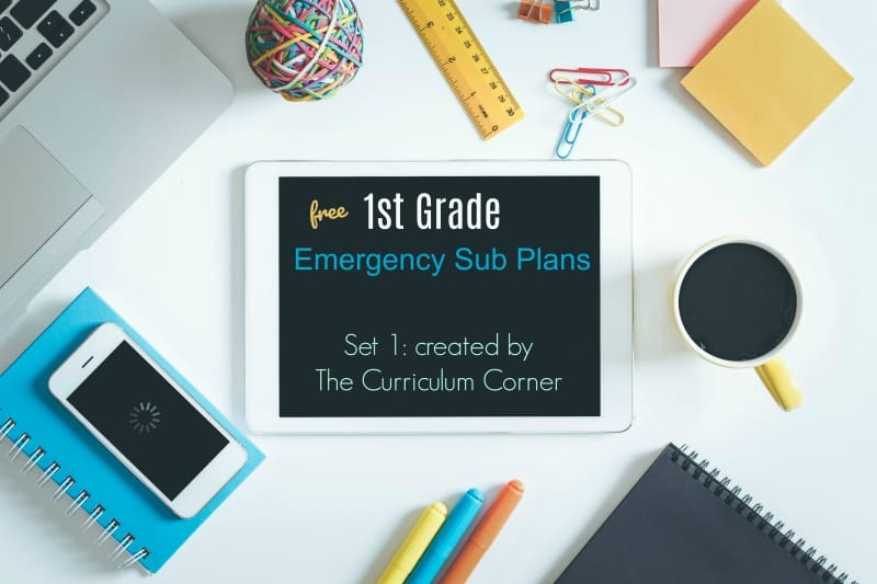 This is a completely free first grade sub plans set that has been created by The Curriculum Corner.