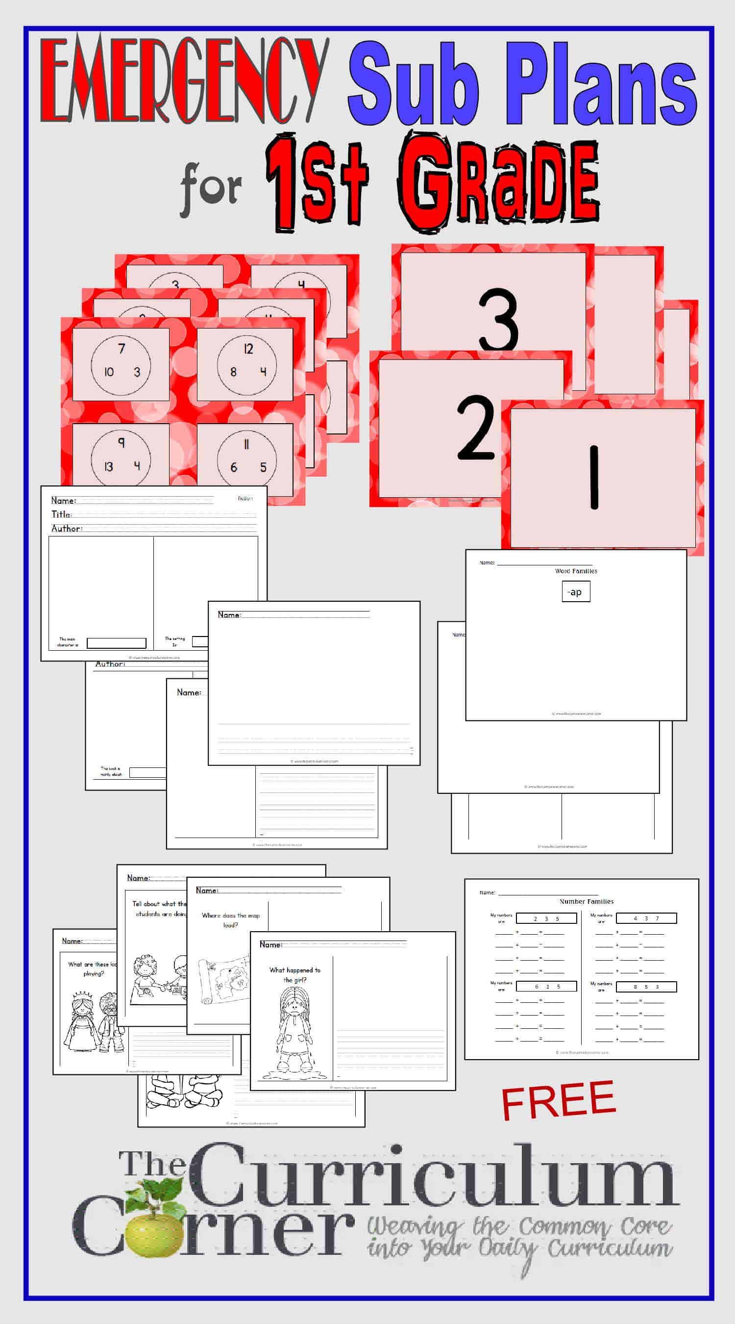 1st Grade Emergency Sub Plans