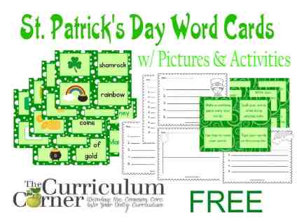 St. Patrick's Day Word Cards w/ Pictures and Activities Includes Recording Pages FREE from The Curriculum Corner | Word Work | Daily 5 | Literacy Centers