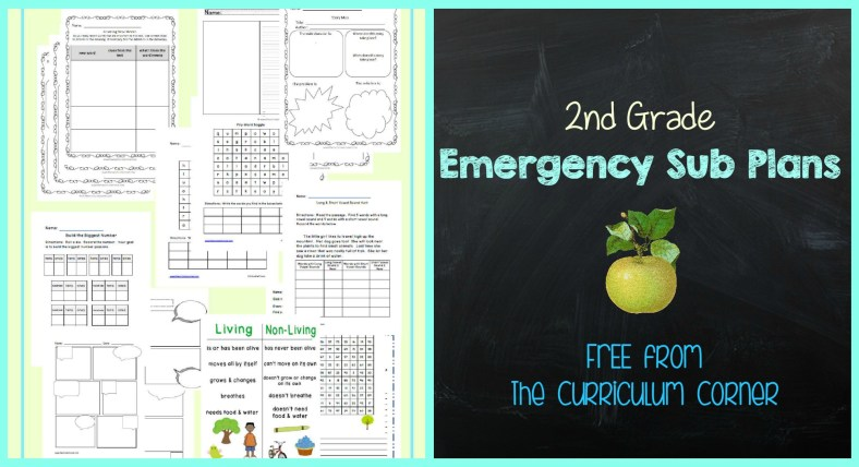 FREE 2nd Grade Emergency Sub Plans FREE from The Curriculum Corner   other grades available!
