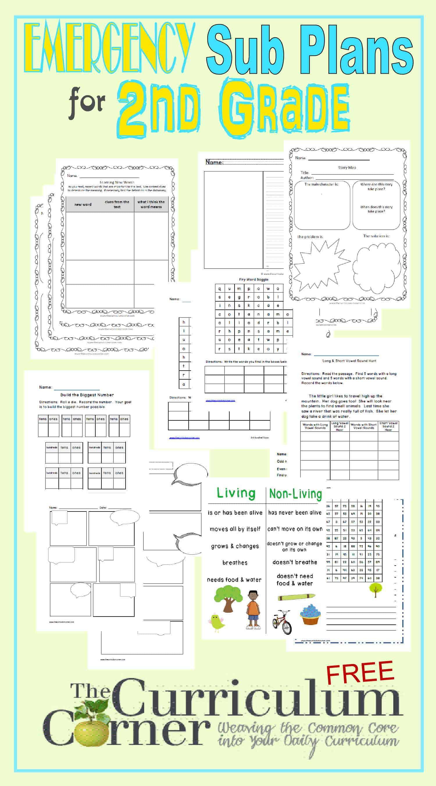 2nd Grade Emergency Sub Plans