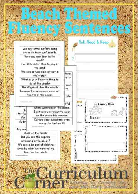 Beach Fluency Sentences and Fluency Booklet free from The Curriculum Corner | Roll, Read, Keep