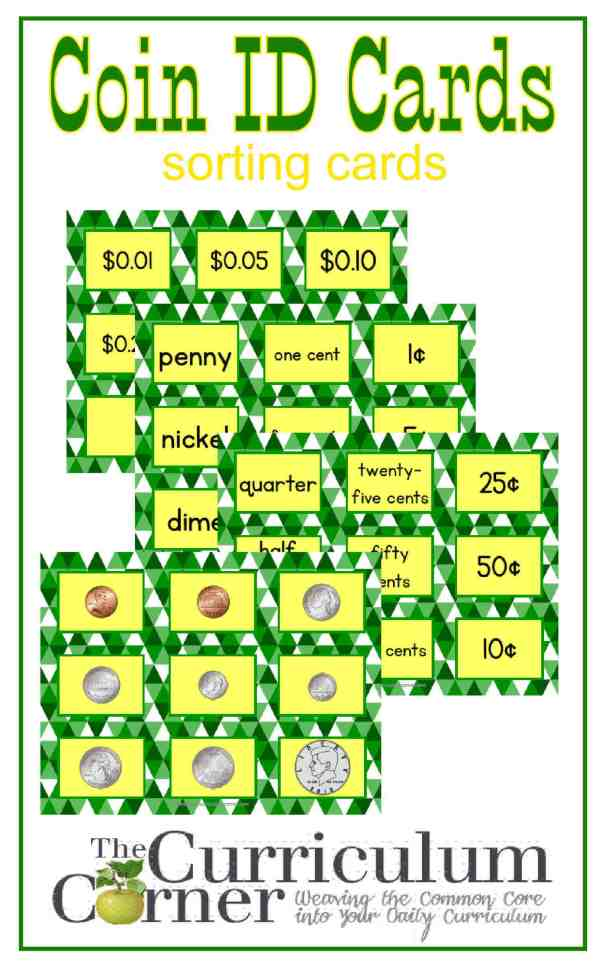 Coin identification sorting cards free from The Curriculum Corner