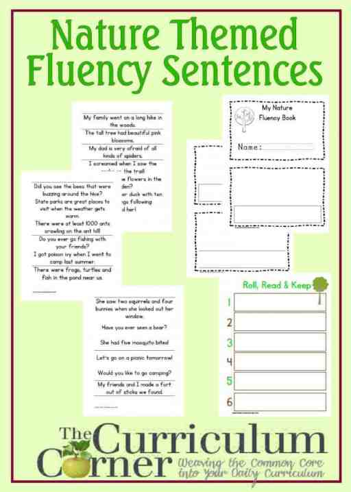 Nature Fluency Sentences and Fluency Booklet free from The Curriculum Corner | Roll, Read, Keep