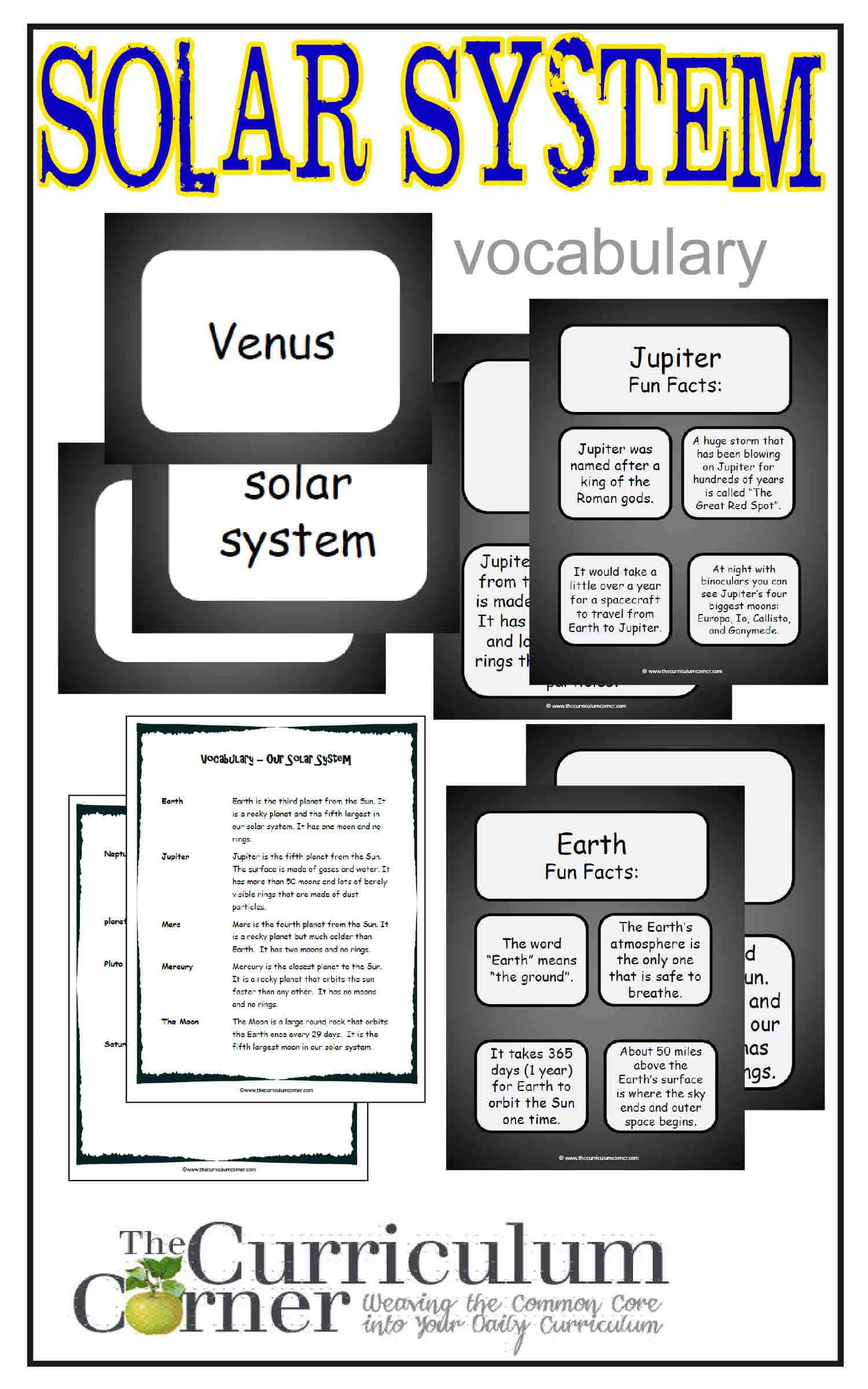 Weekly Thematic Vocabulary Words Amp Activities Set 9 The Solar System