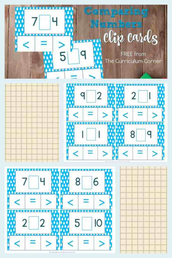 FREE Comparing Numbers Clip Cards from The Curriculum Corner