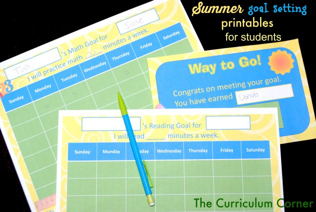 Summer Goal Setting Printables for Children to use at Home by The Curriculum Corner