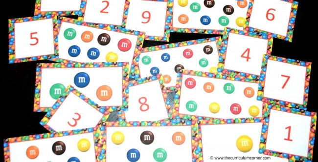 Math fun with M&M's® FREE math activities from The Curriculum Corner | pattern cards | counting cards | concrete graph