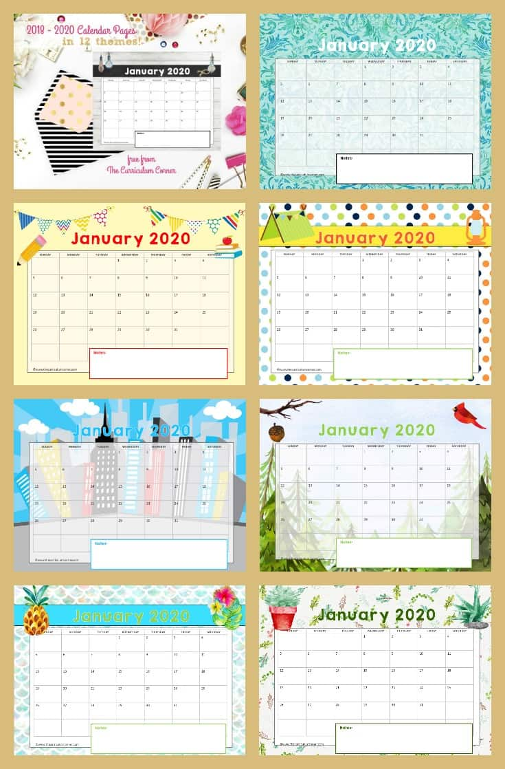 This collection of free Teacher Calendar Pages for 2018 through 2020 is the perfect addition to your teacher planning binder.