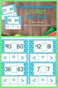 Comparing 2 digit numbers clip cards