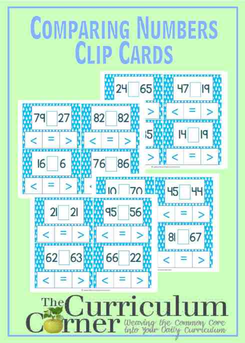 2 Digit Comparing Numbers Clip Cards FREE from The Curriculum Corner