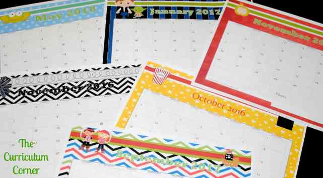 12 Styles of Printable Calendar Pages for your Teacher Planning Binder FREE from The Curriculum Corner