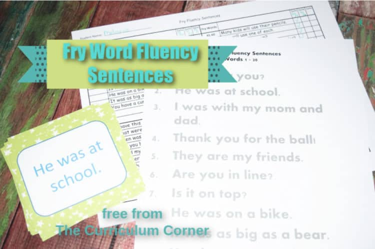 graphic relating to Fry Phrases Printable identified as Fry Fluency Sentence Supplies - The Curriculum Corner 123