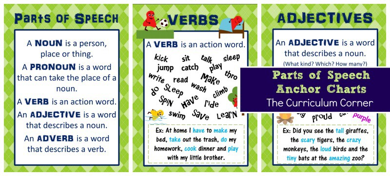 Parts of Speech Anchor Charts free from The Curriculum Corner