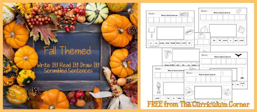 FREEBIE! Fall themed Read It! Write It! Draw It! Scrambled sentences from The Curriculum Corner