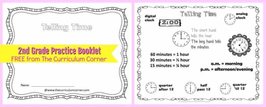 FREE Telling Time Practice Booklet from The Curriculum Corner