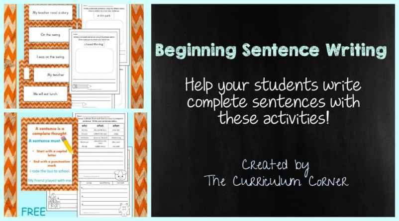 FREE Beginning Sentence Writing Activities from The Curriculum Corner