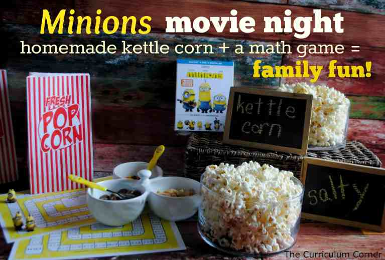 Put together a perfect Minions movie night with these fun math games and this simple kettle corn recipe. The Curriculum Corner