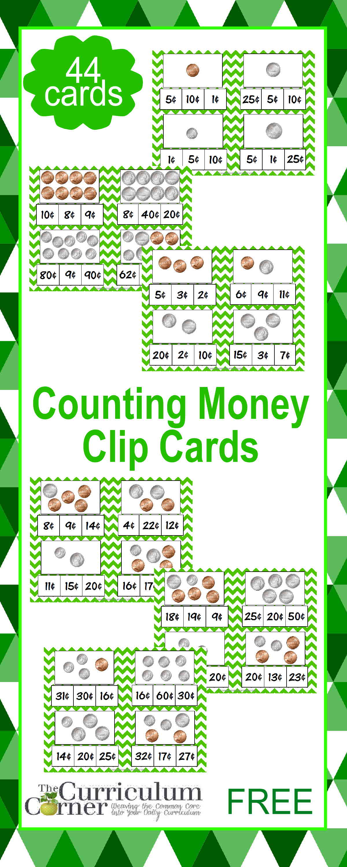 Counting Coins Money Clip Cards