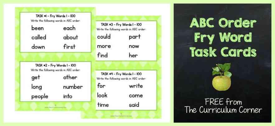 FREEBIE Fry Word ABC Order Task Cards | Literacy Center | The Curriculum Corner