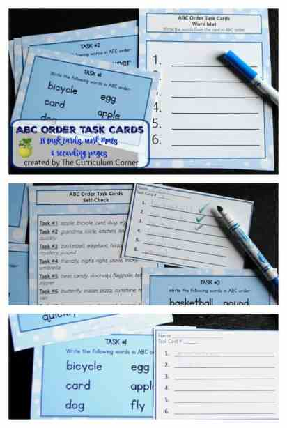 ABC Task Cards w/ Recording Pages & Work Mats FREE from The Curriculum Corner