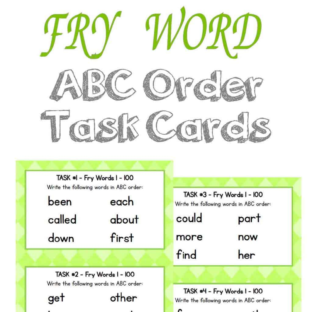 Fry Word ABC Task Cards first 500 words |literacy center | FREE from The Curriculum Corner