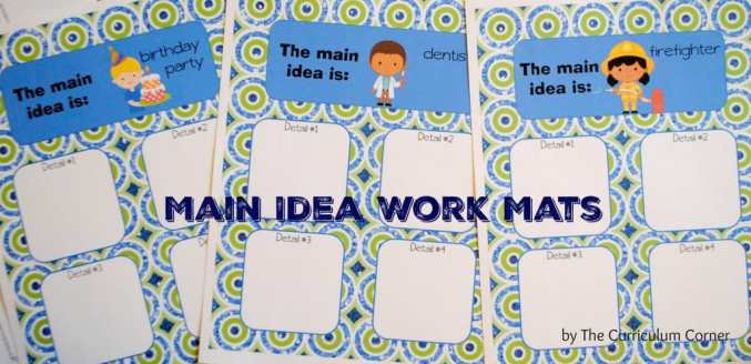 Main Idea Resources for Small Group Reading FREE from The Curriculum Corner