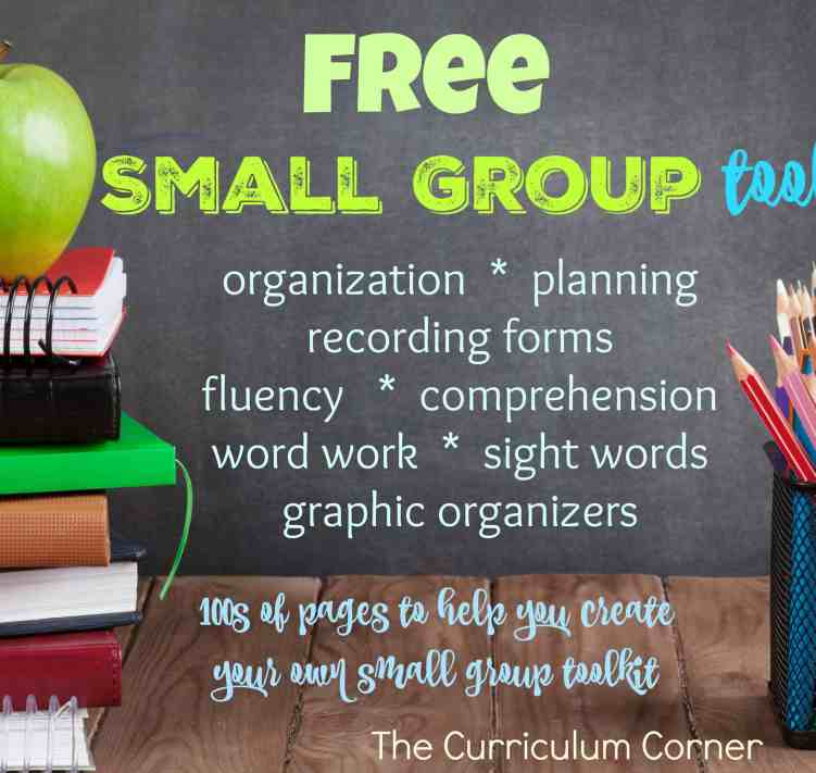 FREE Complete Small Group Reading Instruction Toolkit from The Curriculum Corner for small group reading instruction | organization, planning, recording forms, fluency, comprehension, word work, sight words, graphic organizers | HUGE COLLECTION!