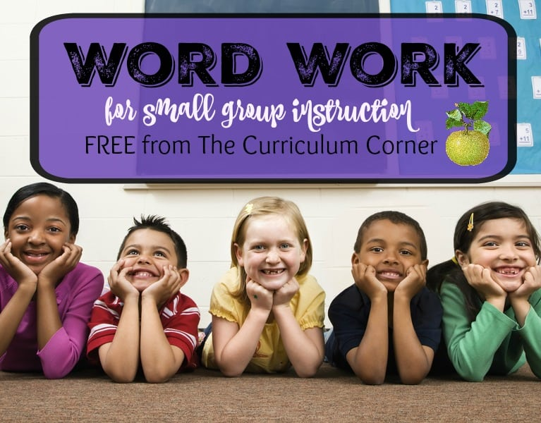 Word Work Activities for Small Group Instruction - 13 printable activities to be used with any book FREE from The Curriculum Corner