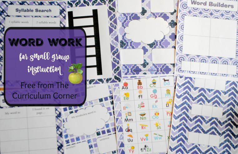 Word Work for Small Group Instruction - 13 printable activities to be used with any book FREE from The Curriculum Corner