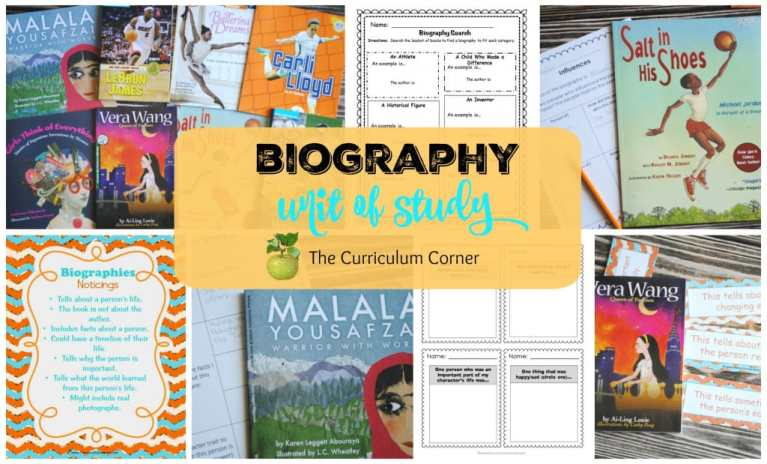 Biography Reading Unit of Study FREE from The Curriculum Corner
