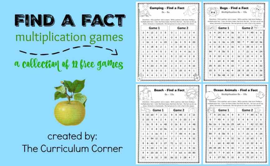 Find a Fact Multiplication Games - The Curriculum Corner 123