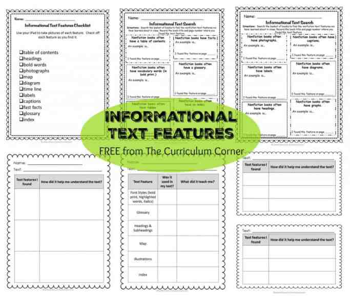 Text Features: Informational Text Reading Unit