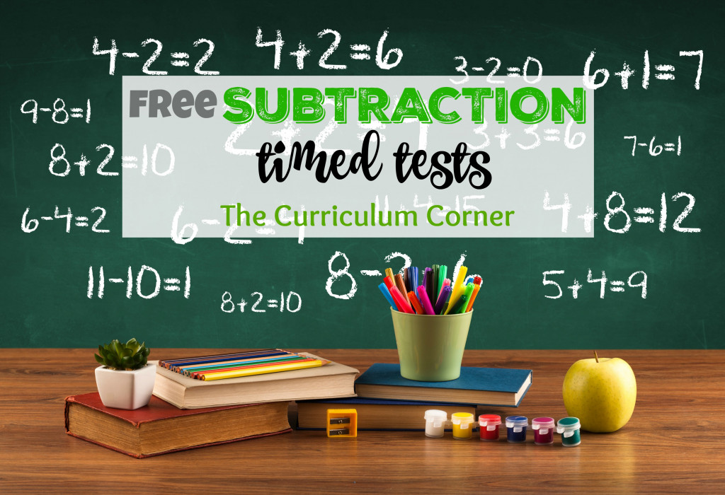 Subtraction Timed Test | Free Collection from The Curriculum Corner | Basic Facts | Math Facts Practice