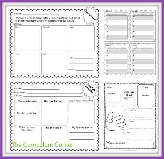 Fairy Tale Reading Unit of Study FREE from The Curriculum Corner | Anchor Charts | Graphic Organizers | Mini Lessons