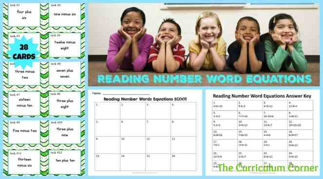 Number Word Equations Task Cards & Scoot Game   Addition & Subtraction Facts   Reading Number Words   FREE   The Curriculum Corner