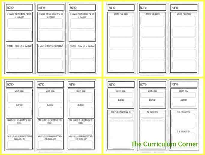 Printable & Editable Bookmarks for Independent Reading free from The Curriculum Corner