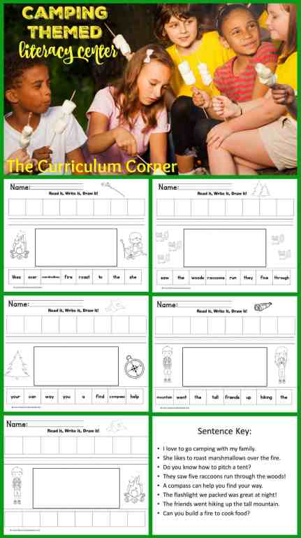 Camping Themed Literacy Center: Read It Write It Draw It Literacy Centers FREE from The Curriculum Corner