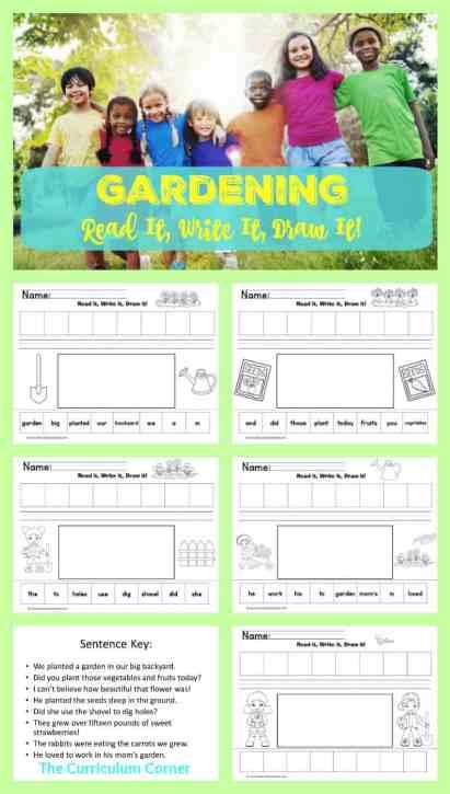 FREE Gardening Read It! Write It! Draw It! Literacy center freebie from The Curriculum Corner