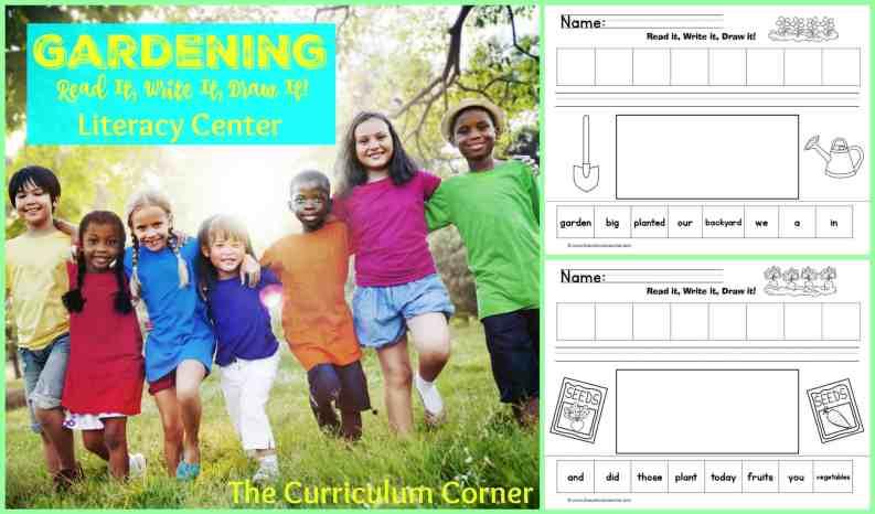 Gardening Read It! Write It! Draw It! Literacy center free from The Curriculum Corner
